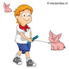 Spel 3: Varken trekken, speldag thema boerderij voor kleuters, kleuteridee.nl , farm games for preschool field day.