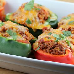 Mexican Stuffed Peppers - going to replace the beef with ground turkey