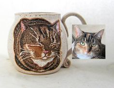 Choose the custom option in my cat loaf mug listing. It is a handmade mug that is hand painted with glazes to match your cat. This is a permanent, dishwasher and microwave safe mug. You can also contact me through my email. susanaltenau@gmail.com All Black Cat, Name Mugs, Cat Mug, Great Birthday Gifts, Pottery Mugs, Dog Portraits, Ceramic Mugs, Cat Gifts, Microwave