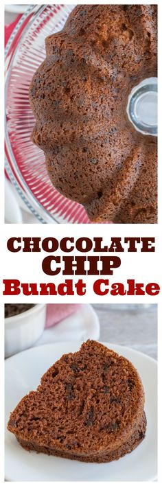 Chocolate Chip Budnt Cake. Filled with chocolate chips, pudding mix and sour cream to make it extra moist. #bundtcake #chocolatecake #chocolatechipcake