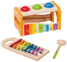 Early Melodies Pound and Tap Bench and thousands more of the very best toys at Fat Brain Toys. Three vibrant spheres fit into three slots above a colorful keyboard ramp. Give them a pound with the hammer and - POP! Dingadingadingading! They roll right down a colorful keyboard of delightfully ringing notes!