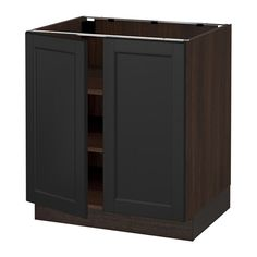"""SEKTION Base cabinet with shelves/2 doors - wood effect brown, Laxarby black-brown, 30x24x30 """" - IKEA"""