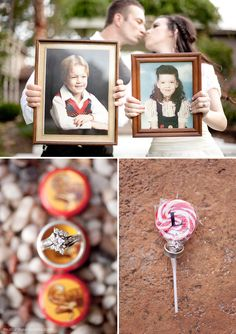 Love bringing childhood pictures for pictures as adults on your wedding day :) sweet
