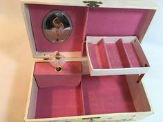 VINTAGE SPINNING BALLERINA MUSIC JEWELRY BOX W MIRROR Childs