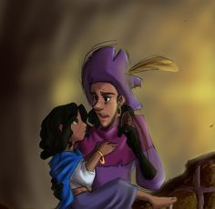 Clopin and Esmeralda (is it just me or does he look like Lupin III here?)