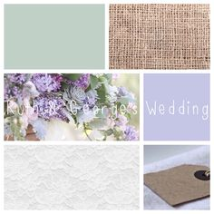 Lilac, sage green, lace and burlap wedding colour personalised palette by Ruth at Bluebell Cake House.