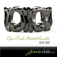 "Open Ovals Stretch Bracelet From Regal.  Wrap your wrist in a smooth, polished pattern of metal ovals and rings. Bold gunmetal colour with smooth edges for a comfortable fit on just about any wrist. (2"" inner Diam. 1""H.) Product Number - JC1047"
