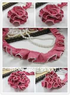 Long10meters Wide0.02meter Watermelon red ribbon simulated-pearl pleated laciness/clothes accessories/ Free shipping € 11,61