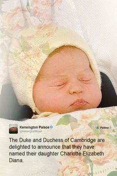HRH Princess Charlotte Elizabeth Diana of Cambridge.  Pretty!