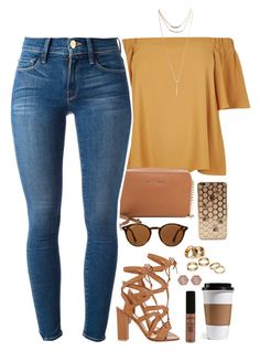 """already done with school"" by daisym0nste ❤ liked on Polyvore featuring Gianvito Rossi, River Island, MICHAEL Michael Kors, Frame Denim, Ray-Ban, Wet Seal, Apt. 9, Henri Bendel and NYX"
