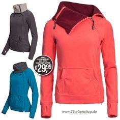 Eight2Nine Damen Fleece Jacke 2 Wege Zipper Taschen mit Raffung by Sublevel! #fleecejacke #seitlichem #zipper #damen #jacke #übergangsjacke