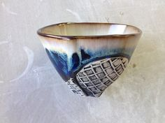 Tea Bowl Cup in White and Dark Blue Crystalline by Lithology