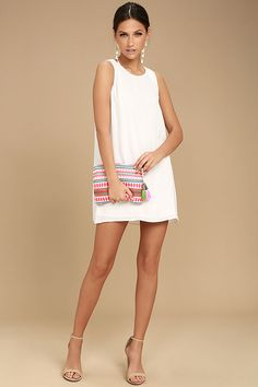 Strut your stuff in the Sassy Sweetheart White Shift Dress! This stunning woven dress starts with a rounded neckline, and carries into a sleeveless, shift bodice with darting. Back keyhole with top button closure. White Dresses For Sale, Pretty White Dresses, Cute White Dress, White Shift Dresses, Little White Dresses, Stylish Dresses, Short Dresses, Fashion Outfits, Latest Styles