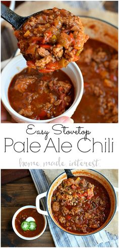 Pale Ale Beer Chili is a hearty and easy to make game day chili made with beer, ground beef, and ground pork. It is perfect for football season. Beer Recipes, Chili Recipes, Easy Dinner Recipes, Crockpot Recipes, Cooking Recipes, Healthy Recipes, Healthy Chili, Weeknight Recipes, Kraft Recipes