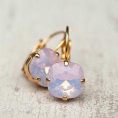 Ballet Pink Opal Earrings Gold Estate Style Vintage Earrings Wedding Jewelry Earrings Bridal Earrings Bridesmaids Gift Dangle Earrings by NotOneSparrow on Etsy