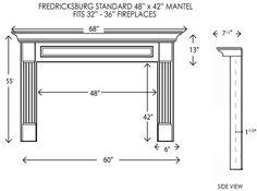 Fredricksburg Fireplace Mantel Standard Sizes