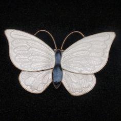 Butterfly Pin Vintage Sterling Silver Enamel Volmer Bahner Denmark