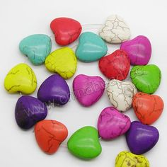 Gemstone Beads, Howlite, Multi-colored, Puffy heart, Approx 20x20x8mm, Hole: Approx 1-2mm, 20 pcs per strand, Sold by strands