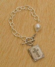 sterling silver bracelet w/cross book locket  so pretty!