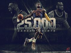 Social Media imagery commemorating LeBron James scoring his 25,000th career point.