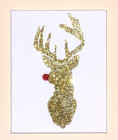 Reindeer Minimalist Glitter Artwork Christmas by TeacupsTulips