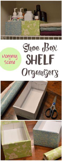 DIY Closet Organizers - Recycle shoe boxes into cute shelf organizers - Mommy Sene