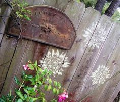 stencil for old garden fence
