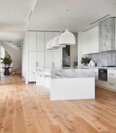 COASTAL LUXE - KWD Modern Coastal, White Coastal Kitchen, Coastal Style, Timber Flooring, Formal Living Rooms, Modern Kitchen Design, Home Kitchens, Beach Kitchens, New Homes