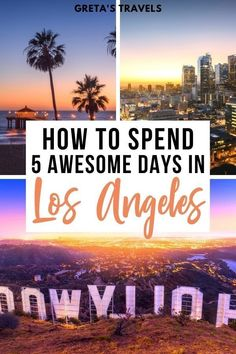 How To Spend 5 Awesome Days in Los Angeles. Planning a 5-day trip to Los Angeles? You've found the right guide! This Los Angeles 5-day itinerary goes over everything you need to know to spend an awesome 5 days in LA, including how to get around, where to stay, where to eat and the best things to do! #losangeles #la #usa #unitedstates #ustraveltips #latraveltips California Attractions, California Travel, Us Travel Destinations, Amazing Destinations, Travel Inspiration, Travel Ideas, Travel Tips, Travel Hacks, Adventures Abroad