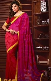Picture of Charming Pink and Red Printed Saree