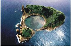 Island just off Vila Franco, Sao Miguel, Azores in Portugal.