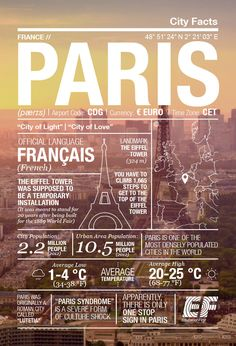 Infographic on Paris, France Gernal Knowledge, General Knowledge Facts, Travel Words, Travel Information, Data Visualization, France Travel, Travel Guides, Travel List, Fun Facts