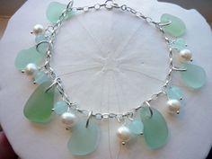 Sea Glass Charm Bracelet  Sterling Beach Seaglass in Sea Foam Green, Pearls TheMysticMermaid