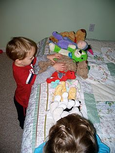 Practice counting by singing 10 in the bed with stuffies