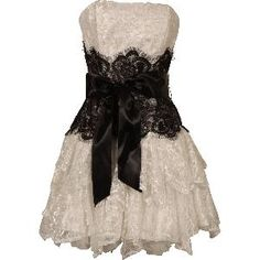 white strapless black sash dress