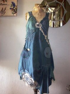 cinderella gypsy soul dress wild deep ocean greyish blue color all vintage handworked linens Boho Outfits, Cute Outfits, Diy Clothes, Clothes For Women, Altering Clothes, Textiles, Cycling Outfit, Playing Dress Up, Diy Fashion