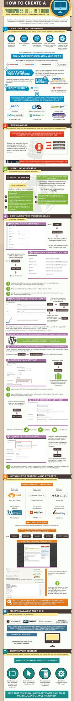 How to Create a self-hosted WordPress Blog in 1 Hour #infographic #Wordpress #Blog