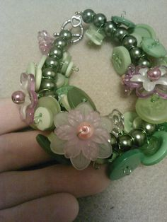 Flower garden button bracelet by CRAZYBUTTONDESIGNS13 on Etsy, $10.00