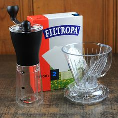 This is a perfect at-home kit for those who don't mind spending a little time grinding their own beans by hand. The clever is one of my favorite brewing methods, and produces such a rich coffee without the silt typical of a french press. Coffee Brewer, Coffee Cups, Coffee Maker, Clever Coffee Dripper, Coffee Roasting, Shot Glass, Brewing, Grinding, French Press