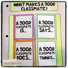 Beginning of the Year Flippable Fun FREEBIE - give students a framework to think about what it means to be a good classmate. What makes a good classmate, a good classmate says, a good classmate does.a good classmate thinks. First Day Activities, Back To School Activities, School Ideas, Beginning Of The School Year, New School Year, School Classroom, Classroom Ideas, Classroom Organization, Classroom Behavior