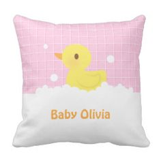 Cute Rubber Ducky in Bath Nursery Decor Throw Pillow
