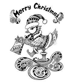 Pájaro de Navidad con paquete de regalo en negro sobre blanco de estilo Zen-doodle — Vector de stock