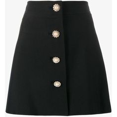 Miu Miu pearl and crystal embellished buttoned mini skirt found on Polyvore featuring skirts, mini skirts, black, high-waist skirt, high waisted short skirts, miu miu, wool skirt and a-line skirt