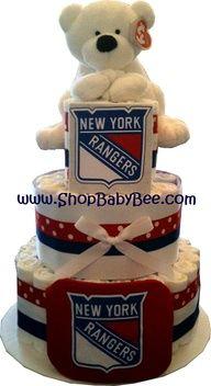 NY Rangers Diaper Cake - Baby Shower Gift