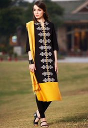 W Black Printed Kurta Online Shopping Store