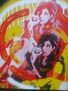 Pop art painting on canvas stencil art spray paint 60s Amy