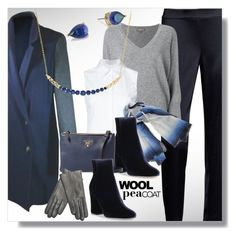 """""""Classic Navy Wool Peacoat"""" by simply-one ❤ liked on Polyvore featuring DKNY, St. John, Kate Spade, N.Peal, Monse, Faliero Sarti, Gianvito Rossi, Prada, Maison Fabre and Lord & Taylor"""