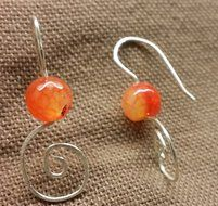 Earrings of Agate and sterling silver