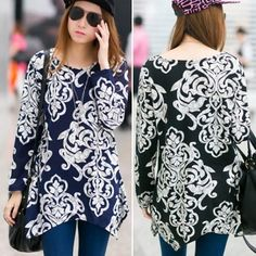 $13.79    Women's Fashion Vintage Flower Print Irregular Slit Hem O-Neck Long Sleeve Loose Casual T-Shirt