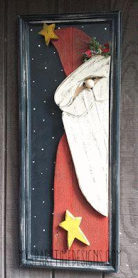"""15.5"""" x 38.5"""" Peekin' Santa Vintage Cupboard Door"""